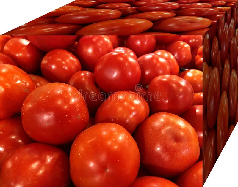 Red tomatoes. For sale in the market. Natural fruits, natural vitamins. Red tomatoes.  For sale in the market. Natural fruits, natural vitamins. Cubic form. 3D royalty free stock image