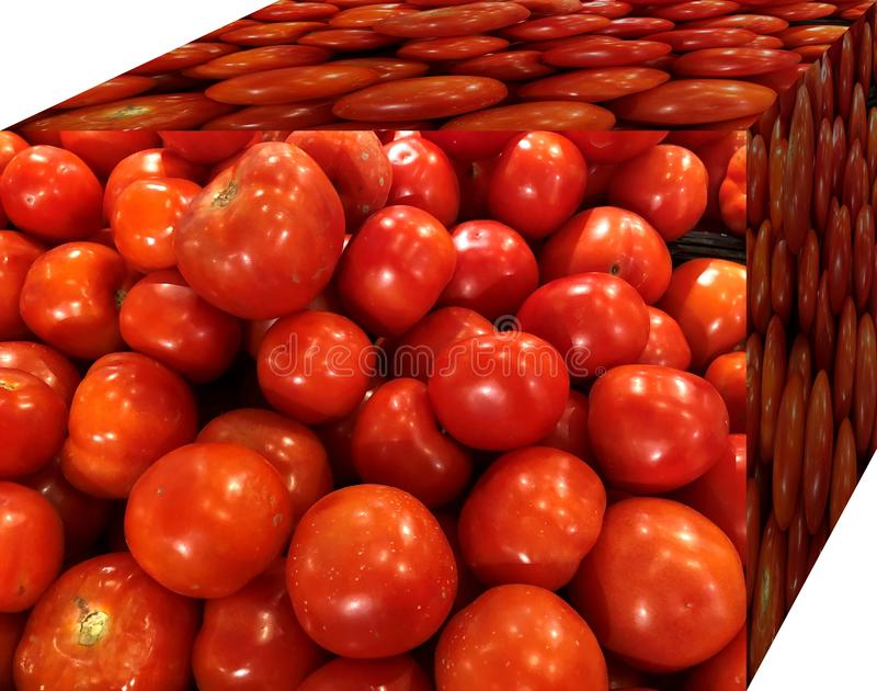 Red tomatoes. For sale in the market. Natural fruits, natural vitamins. Red tomatoes.  For sale in the market. Natural fruits, natural vitamins. Cubic form. 3D stock image