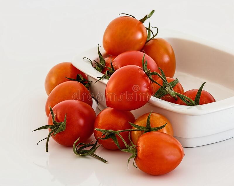 Red Tomatoes on White Bowl royalty free stock photo
