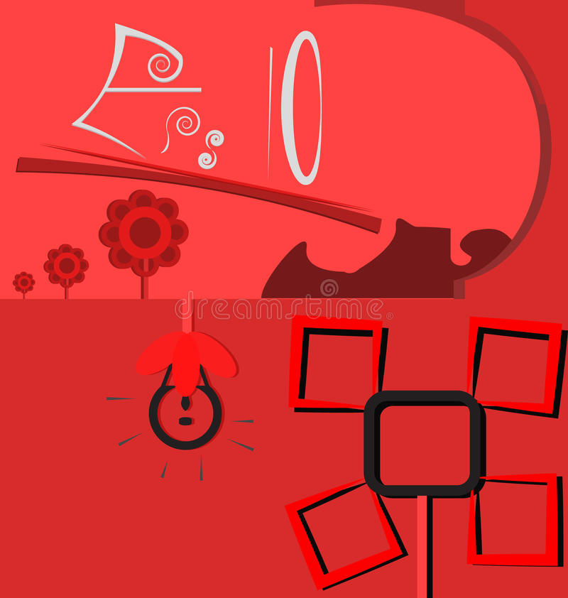 Red tone flower with 2 part background vector illustration