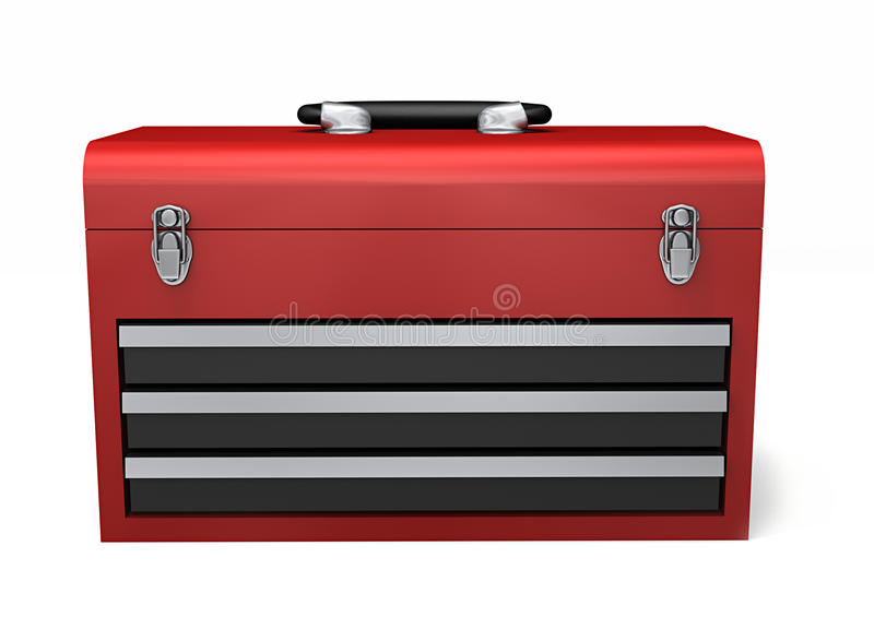 Red Toolbox. A red three drawer toolbox isolated on a white background vector illustration