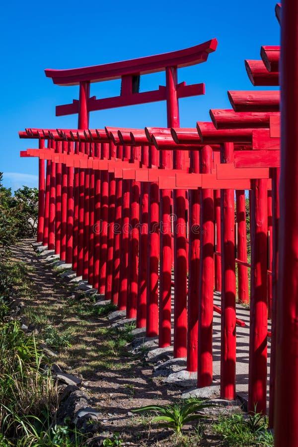 Red Torii Gate Tunnel, Motonosumi Inari Shrine. Part of the tunnel of 123 red torii gates at Motonosumi Inari Shrine in Yamaguchi, Japan royalty free stock photo