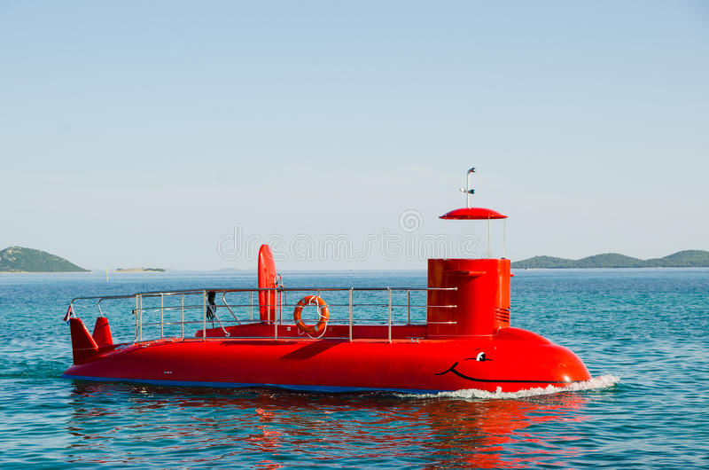 Red tourist semi-submarine at sea without capitan royalty free illustration
