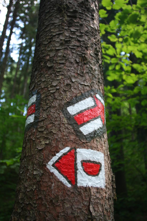 Red Tourist Sign on the Tree. (Czech Republic stock photo