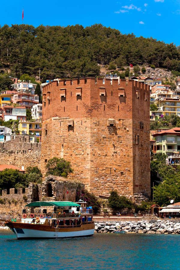 Download Red Tower in Alanya stock image. Image of boat, tourism - 14134873