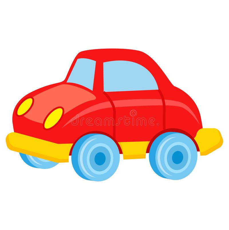 Red Toy Car with Blue Wheels Vector Illustration. Red toy car with blue wheels and windows and yellow bottom vector illustration. Boyish toy for entertainment in stock illustration