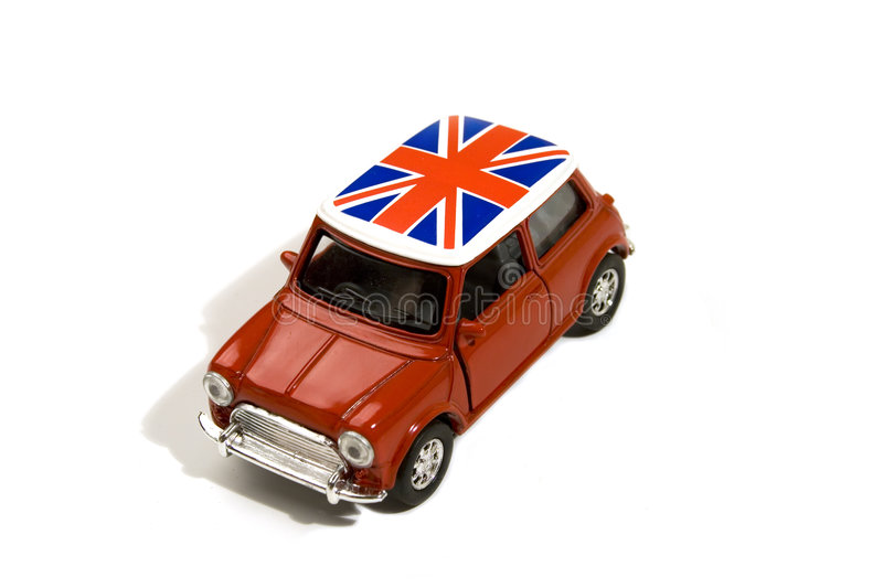 Red toy car with british flag royalty free stock photos
