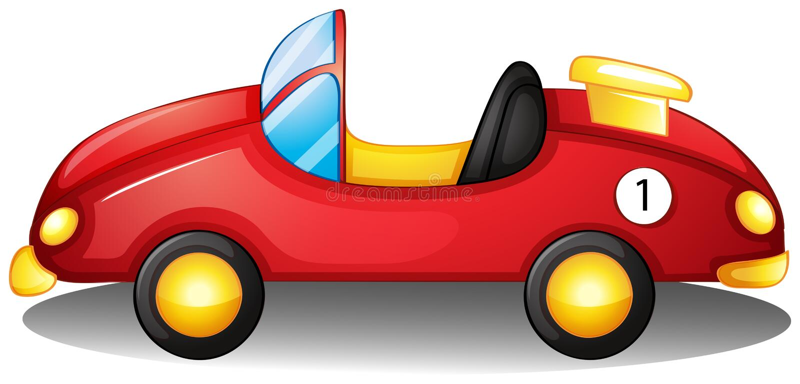 A red toy car. Illustration of a red toy car on a white background vector illustration