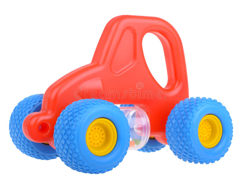 Red toy car. Isolated on white royalty free stock images
