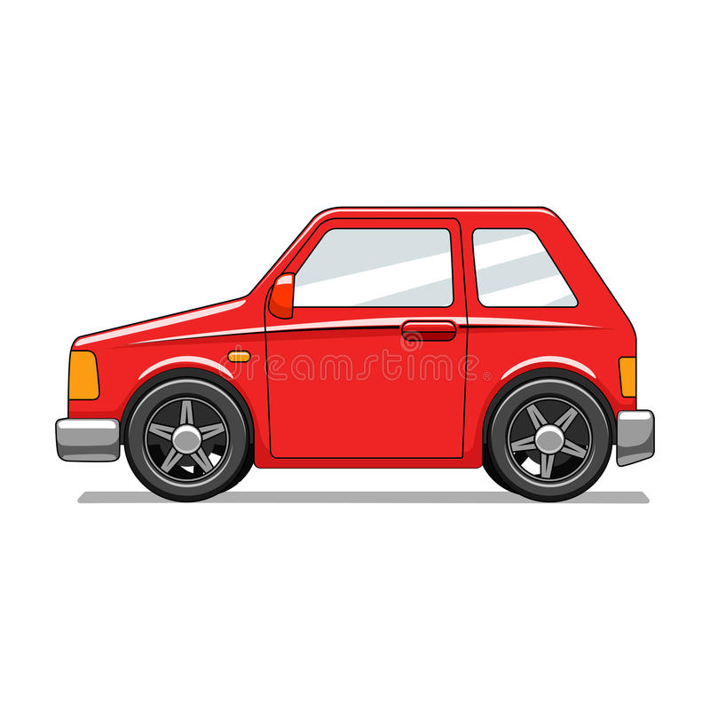 Red toy car vector illustration. Red toy cartoon hand drawn car vector illustration royalty free illustration