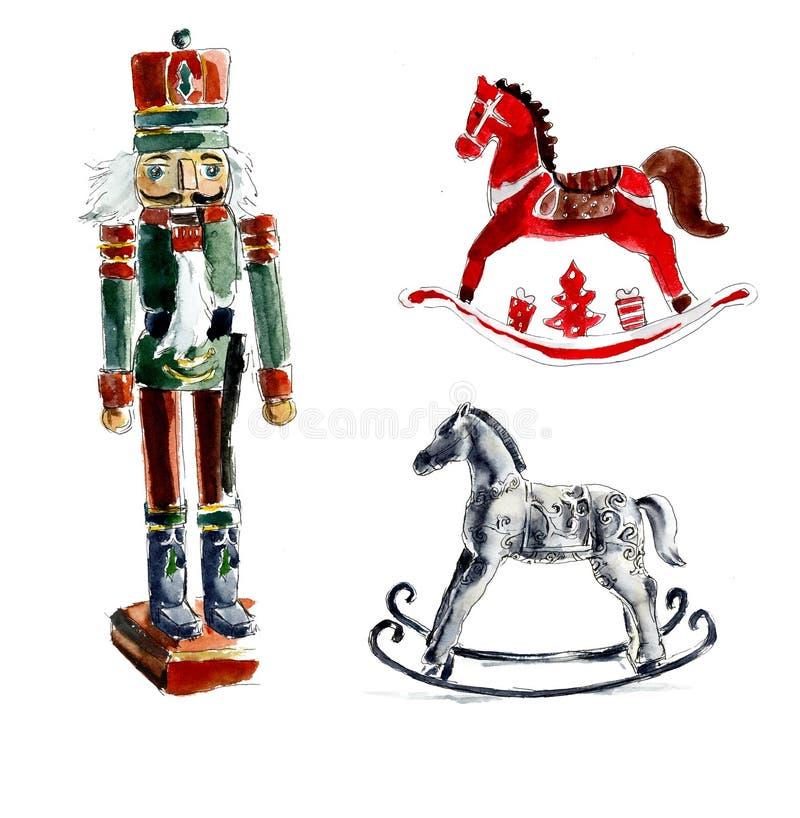 Christmas toys. Nutcracker, horses. Watercolor hand drawing illustration stock illustration