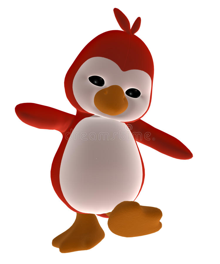 Red toy penguin vector illustration