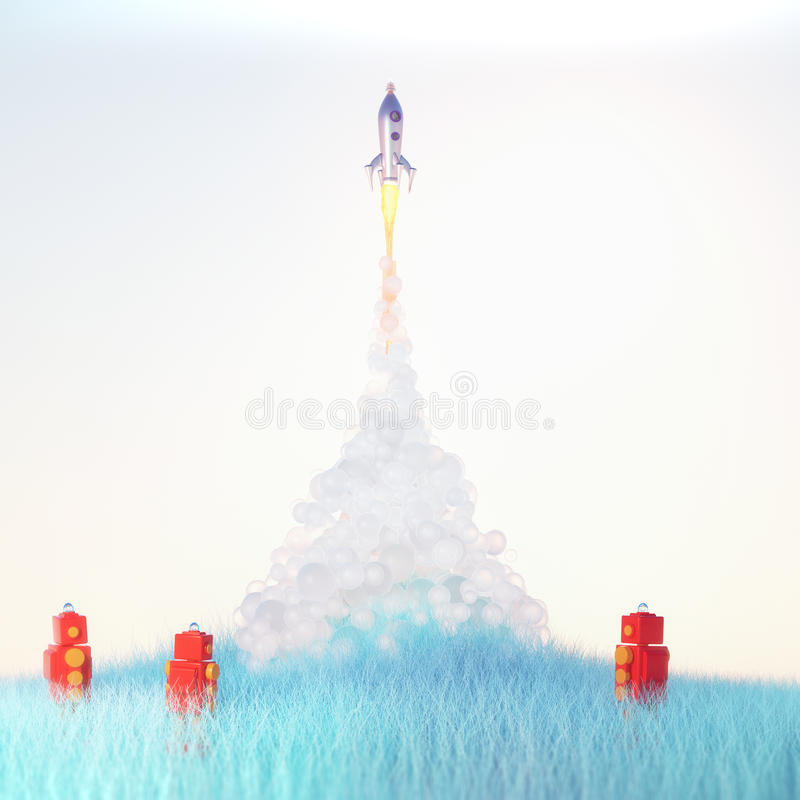 Red toy robots watch cute vintage rocket launch with soft fluffy smoke on light blue background on blue grass 3d render royalty free illustration