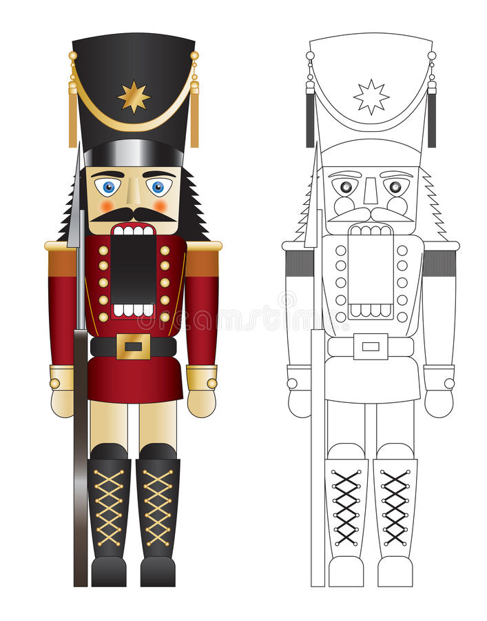 Red toy solider nut cracker vector royalty free illustration
