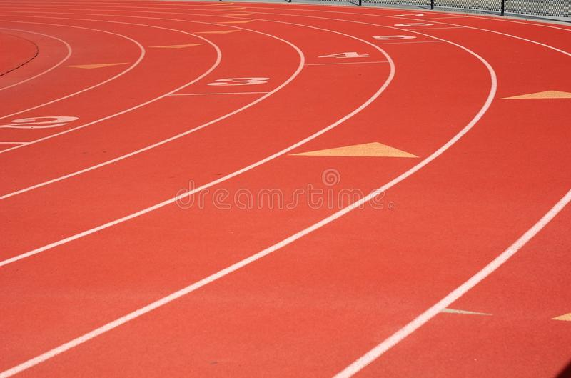 Red Track and Field lanes royalty free stock photography