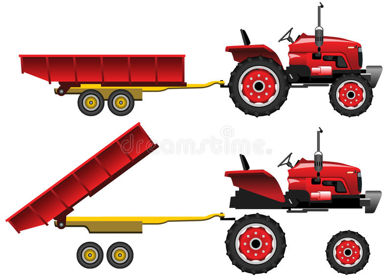 Red Tractor with trailer. This is an illustration of a red farm tractor with trailer royalty free illustration