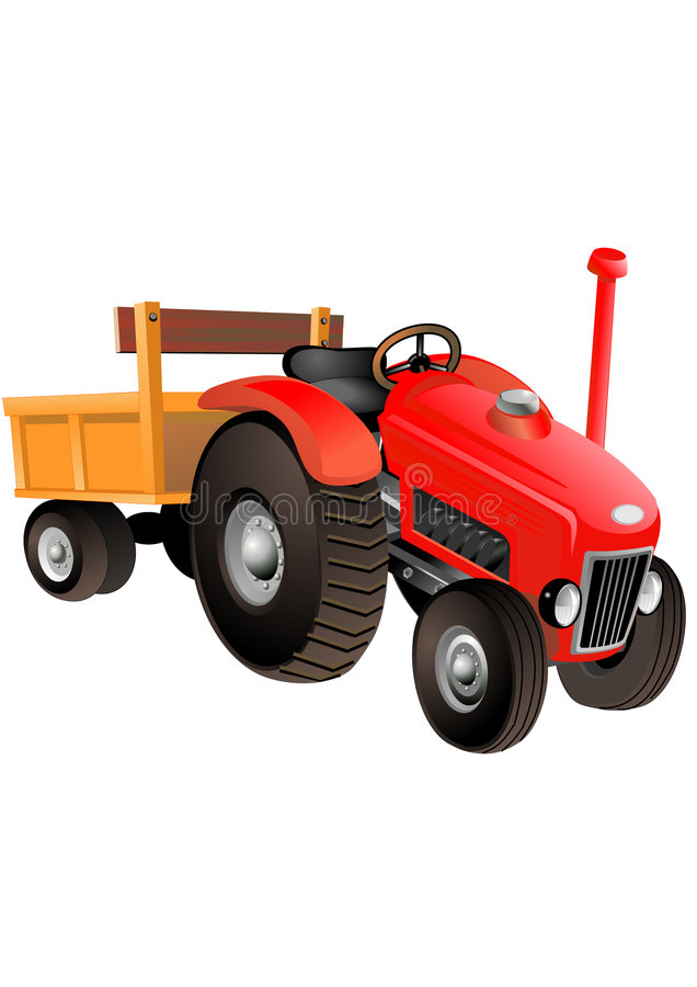 Red tractor. Happy peasant on tractor carrying watermelons stock illustration