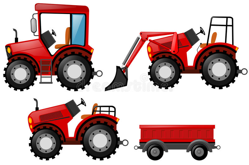 Red tractor and bulldozer set. Illustration stock illustration