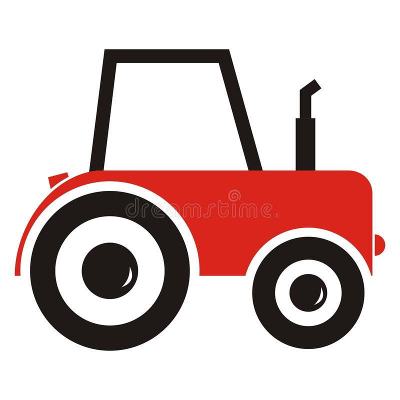 Red tractor vector illustration