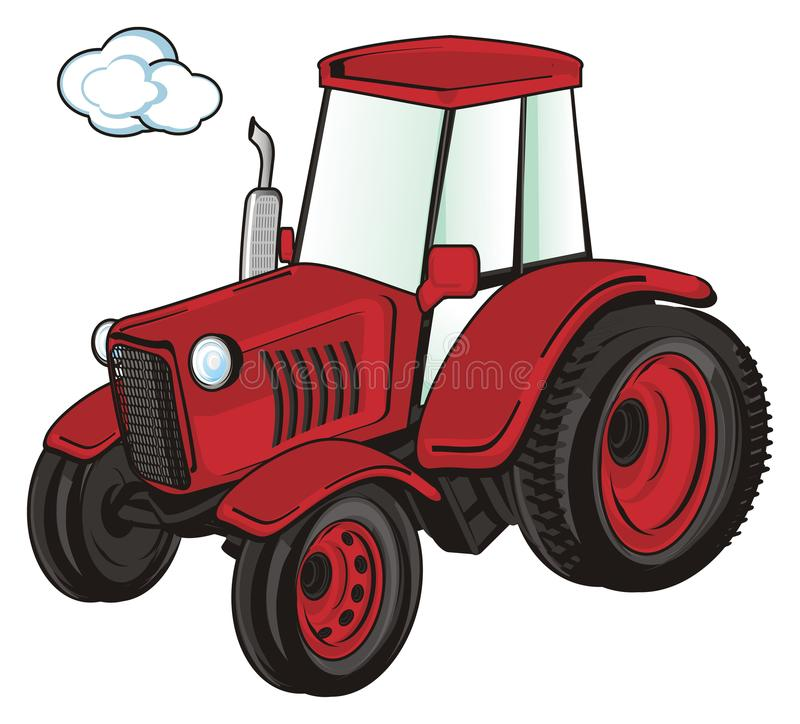 Red tractor driving. One red farm tractor driving royalty free illustration