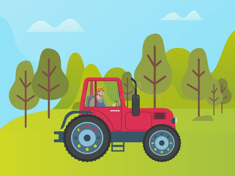 Red Tractor on Green Meadow Among Trees and Bushes. Vector rural transport, agriculture transportation item on lawn with green plants at forest vector illustration