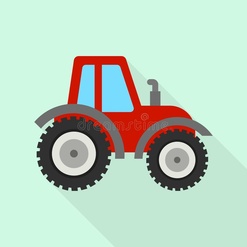 Red tractor icon, flat style. Red tractor icon. Flat illustration of red tractor vector icon for web design vector illustration