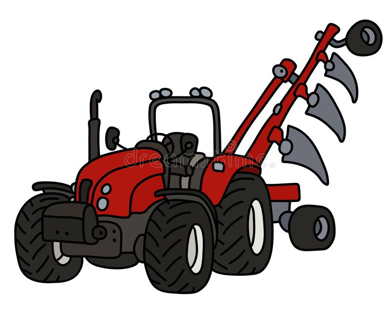 The red tractor with a plow stock illustration