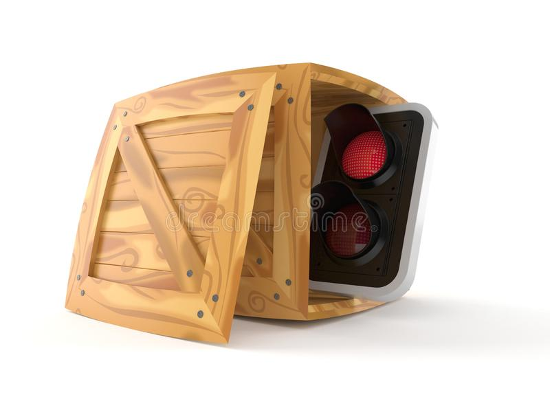 Red traffic light inside cargo crate. Isolated on white background. 3d illustration royalty free illustration