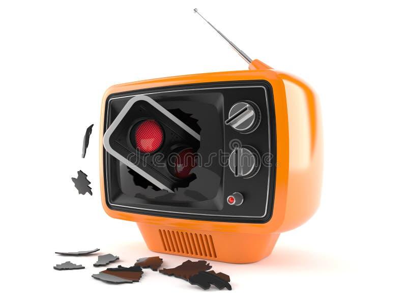 Red traffic light inside old tv. Isolated on white background. 3d illustration vector illustration