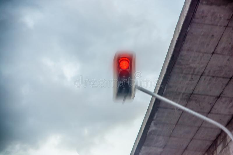 Red traffic light is overrun royalty free stock image