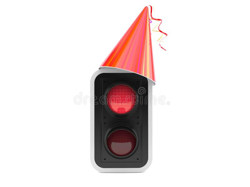 Red traffic light with party hat royalty free illustration