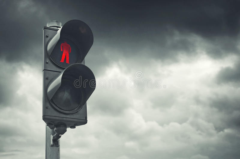Red traffic light stock photo
