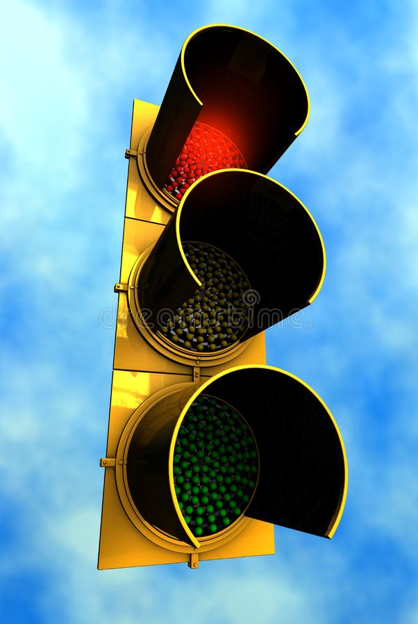 Red Traffic Light with sky background royalty free stock photos