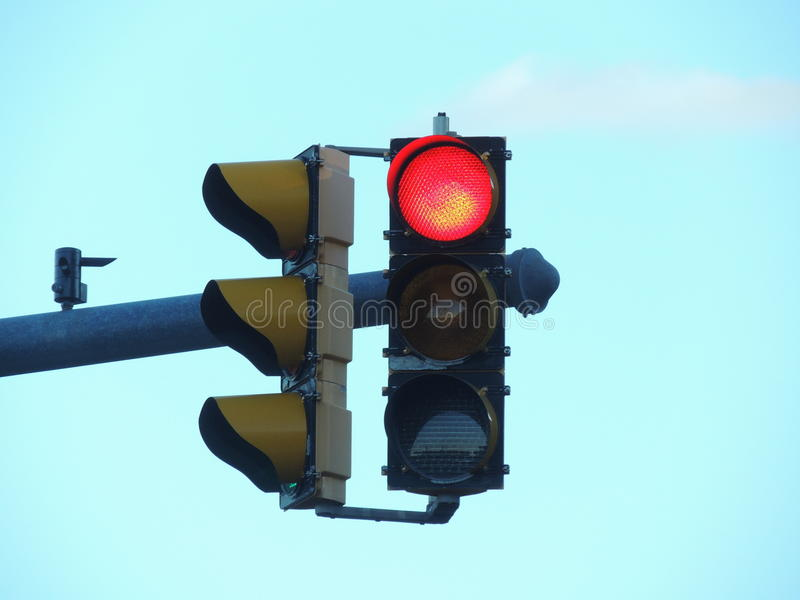 Red traffic light in USA royalty free stock images