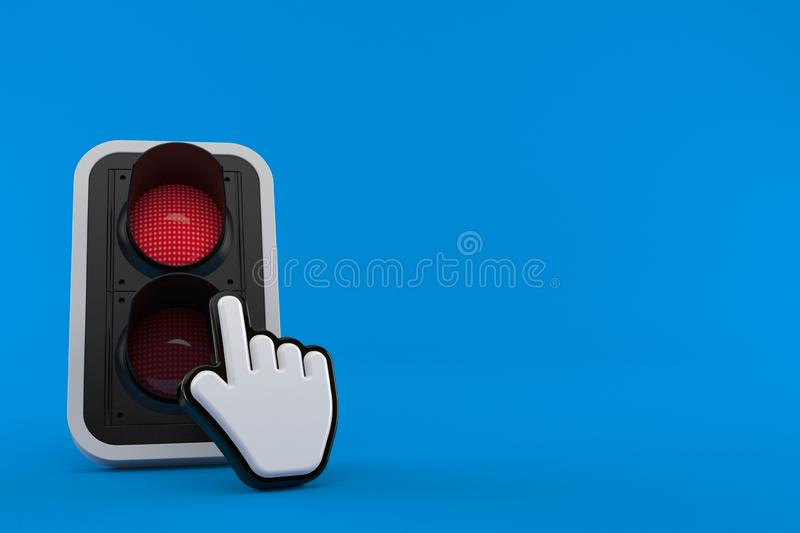 Red traffic light with web cursor royalty free illustration
