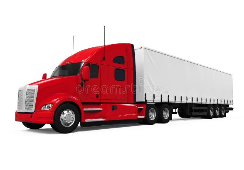 Red Trailer Truck vector illustration