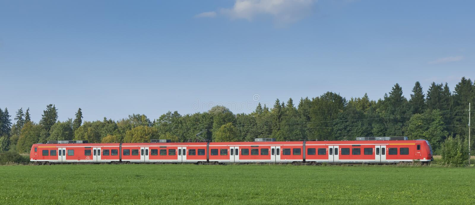 Red train. An image of a typical red train in Germany Bavaria royalty free stock photos