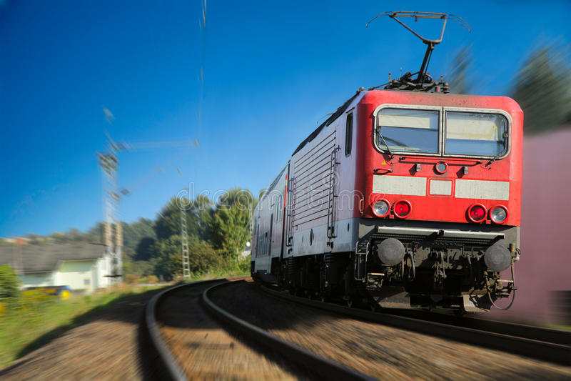 Download Red train motion blurred stock photo. Image of blur, front - 17424406