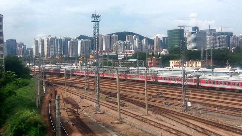 The red train and numerous tracks in SHENZHEN,CHINA,ASIA. The red train and numerous tracks is show transportation capacity in SHENZHEN,CHINA,ASIA stock images