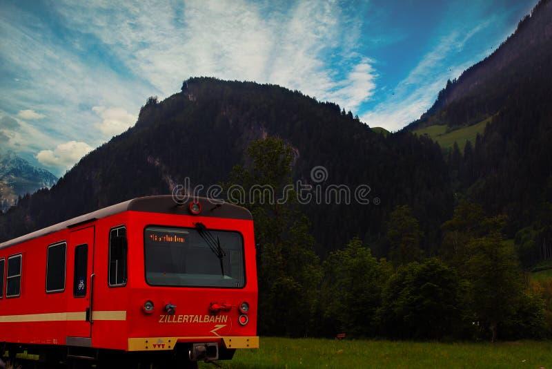 Red Train on Railway stock photos