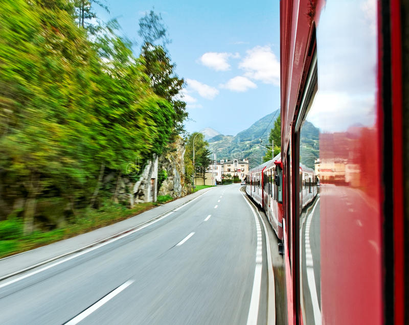 Download Red train. stock photo. Image of railroad, europe, landscape - 33739416
