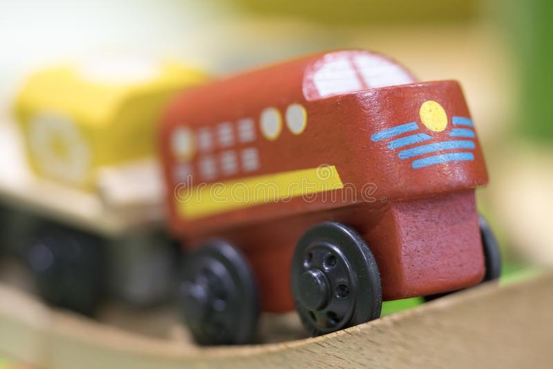 Red train Wooden toy - Toys for kids Play set Educational toys f royalty free stock photography