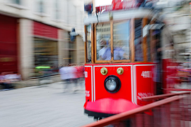 Red tram of Istanbul royalty free stock photo