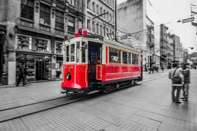 Red tram in Istanbul, Istiklal street, Turkey stock photography