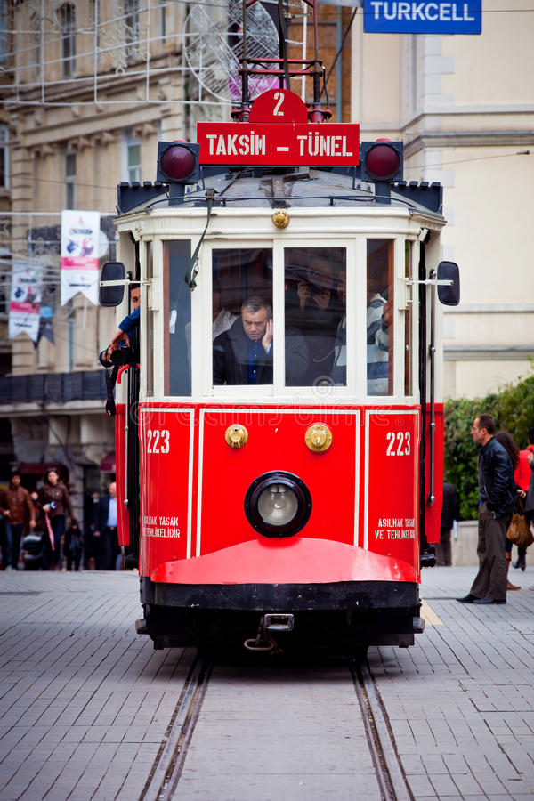 Red tram in Istanbul royalty free stock photo