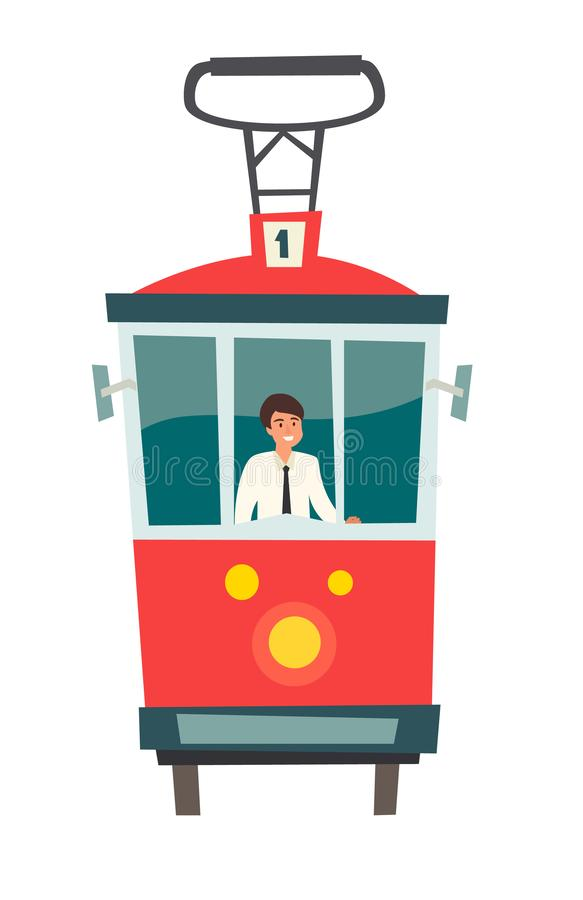 Red tram, Public transport with driver, vector illustration. Istanbul vector illustration