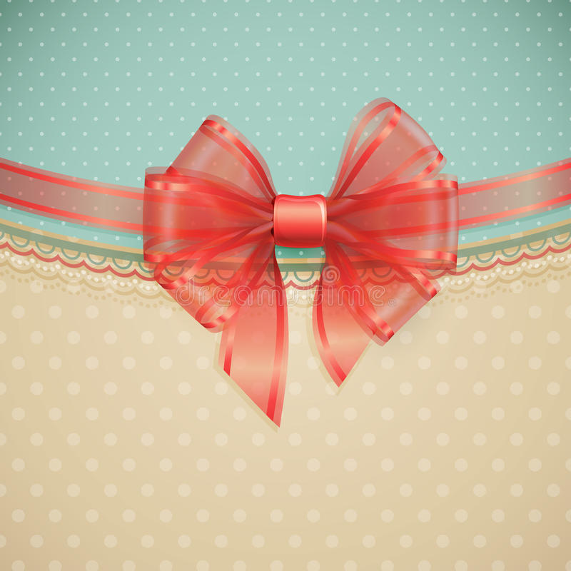 Red transparent bow on vintage background stock illustration