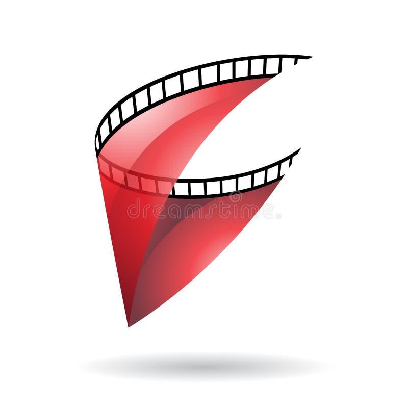 Red Transparent Film Reel Icon royalty free illustration