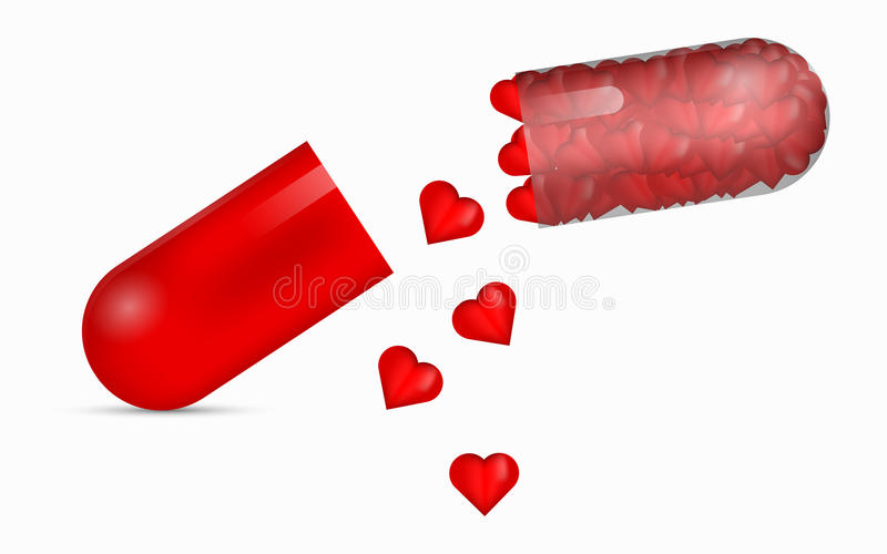 Red transparent pill full of glossy 3D hearts. stock illustration