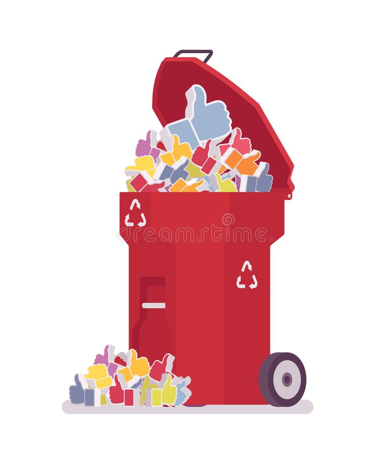 Red trash bin with likes stock illustration